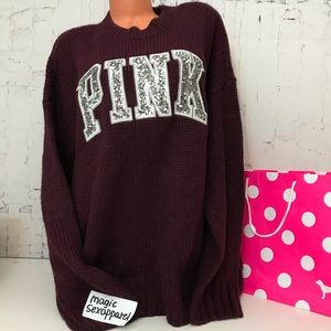 VS PINK L SEQUIN BLING BOYFRIEND SWEATER LOGO